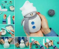 How To Make The Cutest Ever Holiday Sock Snowmen : Sock Snowman Tutorial. I know that this pin is early, but I cant wait for Christmas. I love the snow, the tree, and the beauty of it all. Sock Snowman Craft, Sock Crafts, Cute Snowman, Snowman Crafts, Sewing Crafts, Diy Crafts, Snowmen, Christmas Crafts For Kids, Christmas Snowman