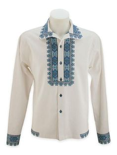 "Embroidered shirt with buttons and ornament ""Zakarpatye"""