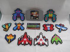 Namco Galaga Perler Bead Sprites by CorneliusPixelCrafts on Etsy