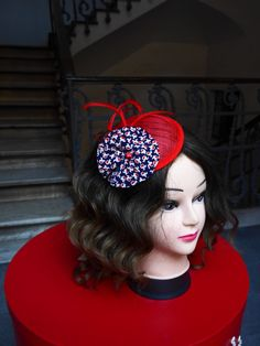 Fascinator Red Blue White - Sinamay Silk and Feathers - Little Red Fascinator…