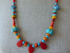 Bluebird of Happiness Necklace, Scarlet Paddle Bead Necklace, African Trade Bead Necklace, Afrikanische Halskette, Collier Africain