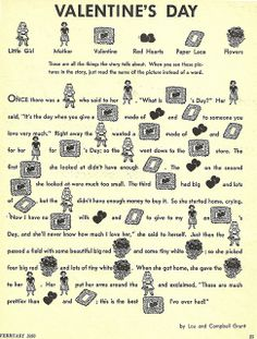 Valentine's Day Story From a 1956 Children's Activity Book.