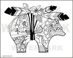 Indian Bear Adult Coloring Page  This is a instant digital download jpg file. Original art by C Wiedenheft printable on a standard 8 1/2 x 11  paper. Directions: Once purchased you will receive a download file, Save the file and print as many as you like. Its that simply! YOUR DOWNLOADED FILE WILL BE WITH OUT THE WATERMARK.  Have fun and enjoy the relaxing creative time you get with coloring. I recommend a heavy mat paper but any if using color pens or markers but any paper will work.  This…