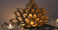 Decoração feita com rolos de papel higiênico