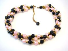 Vintage Gold Tone Faux Pearls and Faceted Beads Three Strand Necklace #vintage #jewelry
