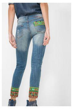 Jeans ankle slim con espejos   Desigual.com C