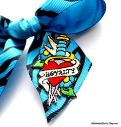 Turquoise Blue Zebra Print Hair Bow Royalty by BELLABABYSTUDIO, $5.00