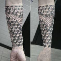 Black and gray, geometric half sleeve tattoo. Artist @janissvars #geometric #tattoo #blackandgray #blackngray #graphic #halfsleeve #tattoofrequency #riga #tattooriga #tattooinriga #rigatattoo #getinked #ink #tattooart #art #share #like #follow