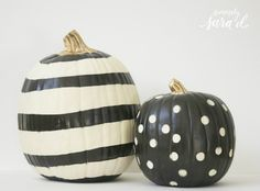 Unique pumpkin decor tutorials using paint & mod podge. Use fake pumpkins and these can be used year after year! Unique pumpkin decor tutorials using paint & mod podge. Use fake pumpkins and these can be used year after year! Halloween Pumpkin Designs, Halloween Pumpkins, Fall Halloween, Halloween Crafts, Halloween Decorations, Pumpkin Decorations, Modern Halloween, Halloween Labels, Homemade Halloween