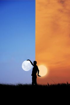 Amazing picture with the #Moon & the #sun by #photographer Adrian Limani - #photography