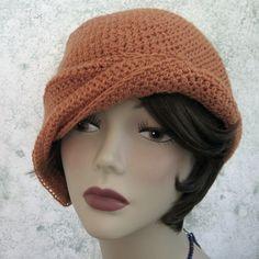 crochet cloche hat pattern free   Crochet Hat Pattern Clochet With Side Gathered Brim PDF Easy To Make ...