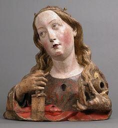 Reliquary Bust of Saint Catherine of Alexandria - Workshop of Nikolaus Gerhaert von Leiden  (North Netherlandish, active Strasbourg, ca. 1460–died 1473 Vienna) - Basswood with paint and gilding - Strasbourg, Upper Rhineland, Germany - c. 1465