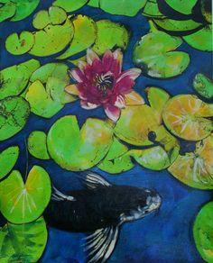 $145 Summertime Koi 16x20 inches mixed media photograph #art #koi #Koi ponds #Koi in art #Ponds #Fish ponds #Gina Signore