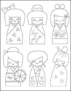 Sublime Stitching: Embroidery Pattern Kokeshi Dolls – Fabrications