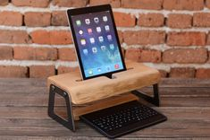 iPad Stand, Wood Docking Station, Industrial Design Desk Accessory, Birthday Gift, Office Organizer, Home decor, Men Gift, Tech Accessory
