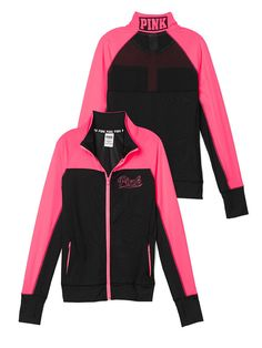 PINK Ultimate Track Jacket in Black/Neon Hot Pink $59.95 --- LOVE the back, HATE…