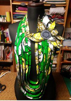 Collier en tissu africain WAX fleur