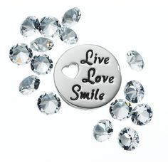 """Blue La Rue Crystal Silver-Plated """"Live Love Smile"""" Charm Set (458.850 IDR) ❤ liked on Polyvore featuring jewelry, pendants, white, swarovski crystal jewellery, silver plated charms, crystal stone jewelry, charm locket jewelry and locket jewelry"""