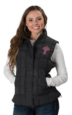 Wired Heart Women's Black with Pink Cross Nylon Quilted Vest