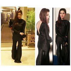 "Mahirah Khan @mahirahkhan looking ravishingly edgy in our custom made ""Revesible-Jacket & Box Pleat Gharara Pants"" from the ""Bob Squad…"