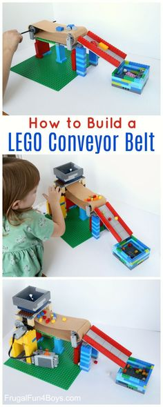 Build a Working Conveyor Belt with LEGO Bricks - Frugal Fun For Boys and Girls Build a Working LEGO Conveyor Belt - Fun STEM challenge with Legos, learn about machines Modele Lego, Construction Lego, Lego Challenge, Lego Activities, Lego Games, Lego Club, Lego Craft, Lego For Kids, Stem Challenges