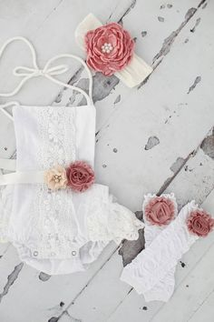 1a83f5429 Summer Boho Chic White Lace Romper w Blush Sash   Headband. Newborn ...