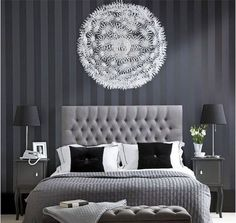 Designing Bedroom with Black and White to Create Classy Look : Modern Grey Bedroom With The Amazing Design Of Chandelier