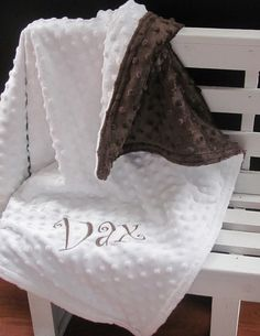 Soft Minky Chenille Personalized Baby Blanket in by SewEmbroiderMe