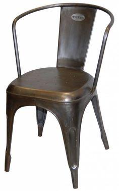 Stalen stoel voor in steampunkinterieur!