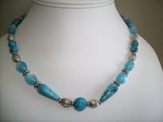 20 inch turquoise and silver bead necklace by lindaschiefer, $22.00