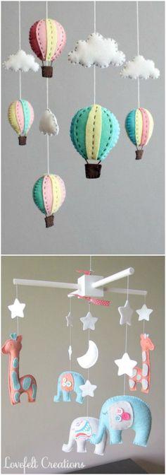 diy movil de cuna. www.accesoriosbebe.net: Mobiles, Felt Decorations, Baby Shower Decorations, Felt Crafts, Diy And Crafts, Luxury Nursery, Diy Y Manualidades, Baby Mobile, Baby Fabric