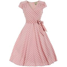 'Dawn' Pastel Pink Polka Dot Swing Dress (4.025 RUB) ❤ liked on Polyvore featuring dresses, pink, swing skirt, pink swing dress, swing dress, surplice dress and red dress