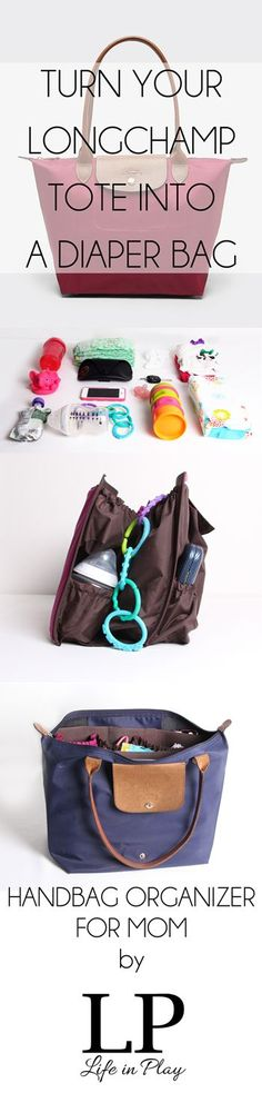 handbag organizer for mom and the Longchamp Le Pliage tote | purse organizer