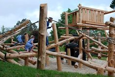Playground Build & Design | Earth Wrights Ltd. The great thing about this design is the incredible number of possible climbing routes children can take. A piece of equipment like this will engage children for long periods of time and offers challenges for both younger and older children. Pinned by Alec of http://childsplaymusic.com.au/