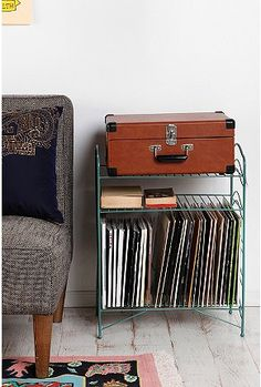 Vinyl Record Storage Shelf - Urban Outfitters - currently in need of this table Vinyl Record Storage Shelf, Storage Shelves, Storage Rack, Style Deco, My New Room, Home And Living, Living Rooms, Room Inspiration, Bedroom Decor