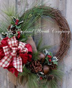 Christmas Wreath, Holiday Wreath, Jingle Bells, Country Christmas, Woodland Holiday,Christmas Door Wreath