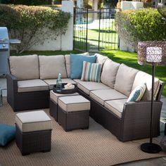 Belham Living Monticello All-Weather Outdoor Wicker Sofa Sectional Set Khaki - 12C053A-W-3D-SET