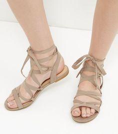 Cream Suedette Ribbon Ghillie Sandals  | New Look