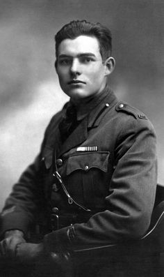 Ernest Hemingway at age 19, photo taken in Milan, Italy, 1918. After high school Hemingway enlisted in WWI. He left for the Italian front in 1918. He served in a volunteer ambulance unit. He was wounded and decorated by the Italian government with the Italian Silver Medal of Bravery. During WWII, he was at the Normandy landing, the liberation of Paris and several other key moments as a war correspondent.