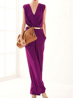 purple jumpsuit,loose jumpsuit,v neck romper