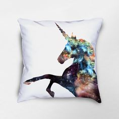 Unicorn Throw Pillow, Galaxy Pillow, Nebula Space Pillow, Unicorn Decor, Unicorn Nursery, Unicorn Gift, Unicorn Pillow Cover by Loftipop on Etsy https://www.etsy.com/listing/461728882/unicorn-throw-pillow-galaxy-pillow