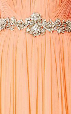 Sorbet Sleeveless Pleated Chiffon Gown by Marchesa for Preorder on Moda Operandi