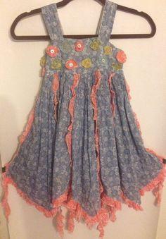 Mimi & Maggie Size 5 Floral Hankie Style Sundress Lined Ruffles Cotton  #MimiMaggie #Sundress #ChurchEverydayEaster