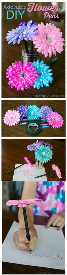Adorable DIY Flower Pens Craft - easy enough for kids too!