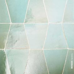 Iridescent semi transparent mint green zellige wall tile from Mosaic Factory. The irregular geometric rectangle shape creates texture and an optical illusion of volume. Zellige tiles are perfect for decorating kitchen and bathroom walls # Green Tile Backsplash, Wall Tiles, Room Tiles, White Mosaic Bathroom, Mint Bathroom, White Bathrooms, Bathroom Colors, Small Bathroom, Master Bathroom