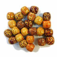 Wooden Patterned Dread Beads at I Kick Shins