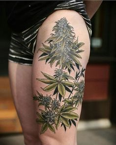Sexy weed tattoos and cool marijuana related ink. Thinking of getting a cool 420 tattoo, then checkout our collection of top 420 tatts. Weed Tattoo, Make Tattoo, Leaf Tattoos, Body Art Tattoos, Sleeve Tattoos, Rib Tattoos, Thigh Tattoos, Tattoo Studio, Tiny Tattoo