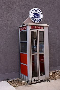 Before cellular phones, if you needed to make a call and you were not at home you needed a coin(or more) and one of these!  They even had a phone book in there if you needed to find a number!(No internet white/yellow pages)