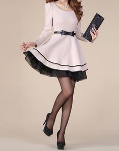 Elegant Style Puff Sleeves Scoop Neck Color Block Bow Tie Polyester Dress For Women (APRICOT,M) | Sammydress.com