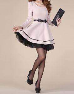 Estilo Elegante Mangas Folhadas Gola Concha Laço de Borboleta Bloco de Cor Vestido de Poliéster das Mulheres (Damasco,M) | Sammydress.com